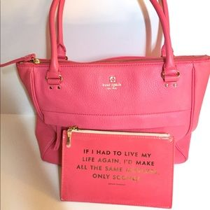 ♠️ Kate Spade pink leather bag and matching pouch